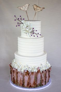 Rustic Wood and Buttercream by With Love & Confection - http://cakesdecor.com/cakes/205208-rustic-wood-and-buttercream