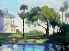 Landscape Original Oil Painting, House on the Point  - Carol Schiff  wish I could own this.