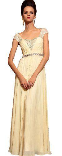 DAPENE Woman Cap-sleeve long Wedding Guest Formal « Dress Adds Everyday