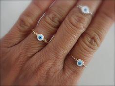 Evil eye ring sterling silver goldfilled and rose por 19bis en Etsy