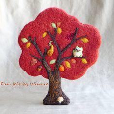 Needle felted Red Autumn tree handmade OOAK wool sculpture by FunFeltByWinnie on Etsy