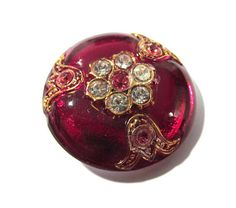 Czech Glass Button Rhinestones Gold Luster RED Glass
