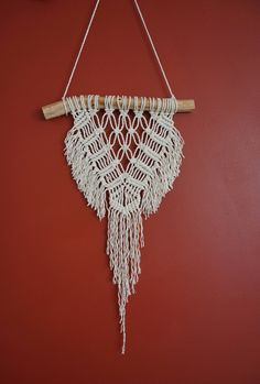 Macrame Wall Hanging - Small (Modern pattern, fringe, cotton string on wattle branch) by MyLittleHabitatStore on Etsy https://www.etsy.com/au/listing/511648268/macrame-wall-hanging-small-modern