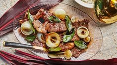 Steak with Onion and Bay Leaves Recipe   Bon Appetit