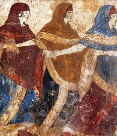 Another example of a Greek Fresco (Apulia - Magna Grecia) from a tomb, century BC, a funeral dance. Ancient Greek Art, Ancient Rome, Ancient Greece, Greek History, Art History, Fresco, Minoan Art, Classical Greece, Ancient Beauty
