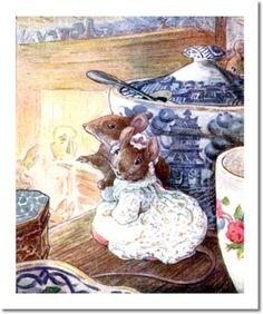 Beatrix Potter II - Beatrix Potter - The Tailor of Gloucester - 1903 - Mice Listen to Tailor on Shelf Digital Image Download Beatrix Potter, Book Illustrations, Children's Book Illustration, Funny Mouse, Peter Rabbit And Friends, Brambly Hedge, Animal Magic, Blue And White China, Lake District
