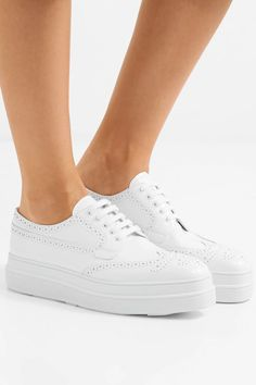 Platform sole measures approximately 2 inches White leather (Calf) Lace-up front Made in Italy Smooth Leather, White Leather, Farrah Fawcett, Personal Shopping, Prada Shoes, Jennifer Fisher, Covergirl, Brogues