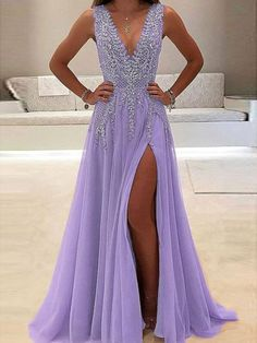 A-line V-neck Nude tulle Skirt with Slit Sexy Shinny Long Prom Dresses M1630