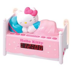 Officially Licensed Hello Kitty Alarm Clock Radio with Bed Post NIGHT LIGHTS! Wake to Radio or Alarm ~ Large, Easy to Locate Snooze Button ~ Two Bedposts Light Up for Night Light (On/Off Switch) ~ Built in cord ~ Battery Backup ~ This pink alarm clo Hello Kitty Zimmer, Hello Kitty Haus, Hello Kitty Bedroom, Hello Kitty Baby Stuff, Hello Kitty Room Decor, Bed With Posts, Kawaii Room, Hello Kitty Collection, Radio Alarm Clock