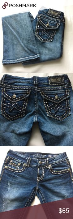 "Miss Me Jeans, Irene Boot Preowned but in excellent condition; Miss Me Blue denim jeans with stitch designs, size 27, style Irene Bootcut.   Rise 7.5"" Inseam 33"" 2% elastine Miss Me Jeans Boot Cut"