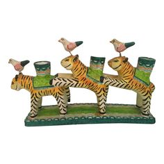 Shop candelabras at Chairish, the design lover's marketplace for the best vintage and used furniture, decor and art. Tiger Dance, Mexican Ceramics, Tiger Art, Vintage Candle Holders, Animal Heads, Mexican Folk Art, Pottery Art, Wood Art, Painted Rocks