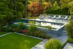 Image result for small glass enclosed pool landscaping