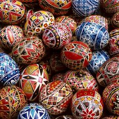 Easter traditional painted eggs.