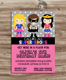 SUPERHEROES Birthday Invitation, Superheros Pink Invite, Girls Superhero Birthday, Supergirl, Batgirl, Digital Printable 5 x 7 JPG File
