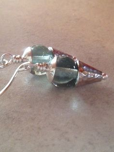 Blue Glass Dangles Ice Blue Earrings Handblown by LadonnaStudio, $30.00