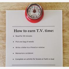 Earning T.V. Time. Brilliant idea!