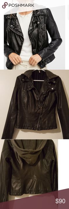 Free People Leather Jacket Worn only once or twice, yet still hard to part with. Basically new condition, and great quality leather. Also a removable hood!  Feel free to make an offer! Free People Jackets & Coats