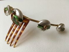 EXQUISITE ART NOUVEAU VICTORIAN HINGED HAIR COMB GILT & COLD PAINTED DRAGONFLY | eBay