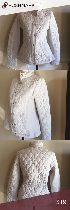 Merona khaki quilted jacket size Small Excellent condition. Light khaki quilted jacket with cute sweater detail on the sleeves and sides. Fully zips and snaps. Pockets and elastic waist in the back. Size small. Merona Jackets & Coats