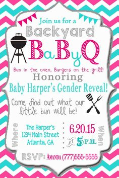 baby bbq gender reveal baby shower digital by - Gender Reveal Baby Shower