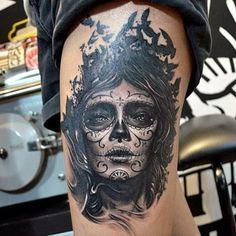 Mulher caveira mexicana preto e branco