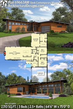 House Plan 69663AM gives you 2100 square feet of living space with 3 bedrooms and 2.5 baths. AD House Plan #69663AM #adhouseplans #architecturaldesigns #houseplans #homeplans #floorplans #homeplan #floorplan #houseplan Contemporary House Plans, Modern House Plans, House Floor Plans, Timber Architecture, Architecture Design, One Level Homes, Cabin Design, House Design, Modern Ranch