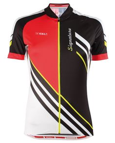 SIGNATURE ladies cycling jersey in red/black