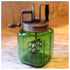 M5759 Rare Green Glass Butter Churn with ribbed design by bbbantiques on Etsy https://www.etsy.com/listing/258403688/m5759-rare-green-glass-butter-churn-with