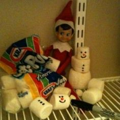 Cute Elf on the Shelf idea~ in the pantry building marshmallow snowmen.except possibly don't use Sharpies, as the kids are going to want to eat the marshmallows after discovering the elf! Need food markers or icing. Noel Christmas, Christmas Holidays, Christmas Crafts, Christmas Ideas, Christmas Letters, December Holidays, December 4, Outdoor Christmas, Christmas Stuff