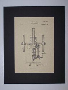 Barnes Machine Gun 1856 Patent drawing HistoricPatentArt.com Gun