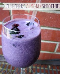 Blueberry and Almond Smoothie & I added Greens Plus Wild Berry superfood powder to it:)