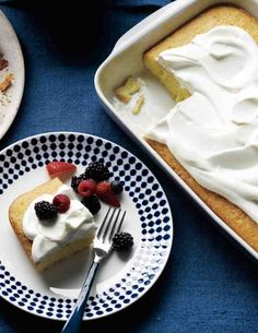 A riff on tres leches, this coconut-spiked sponge cake is soaked in condensed milk, heavy cream, and -- in place of the usual evaporated milk -- coconut milk. Serve it with mixed berries and whipped cream.