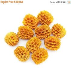 10 Agoha Blüten, orange, 12mm, 10 Stück, Samen Perlen, Perlen rund, Blüten, seed beads, natural beads, exotisch, Naturschmuck, Naturperlen