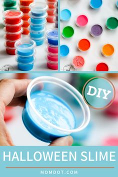 From ooey and gooey to sticky and slimy, some of the world's best Halloween movies feature slime and this holiday season, you should too! Easy to DIY at home you can pass out this Halloween candy alternative, a mini container full of super Halloween slime, for a non-candy treat. Perfect for kids…may not for adults! Grab the recipe now! #easyrecipe #slime #DIY #halloween #forkids