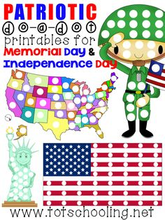 Free Patriotic Do a Dot Printables for Memorial Day, Veteran's Day & 4th of July