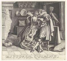 Cornelis van Kittensteyn | Tactus / Het Gevoel, Cornelis van Kittensteyn, Dirck Hals, Claes Jansz. Visscher (II), 1620 - 1652 | In een vertrek zit een minnend paar bij het haardvuur, gekleed in de mode van ca. 1620. De man heeft zijn rechterarm om de schouders van de dame gelegd en raakt met zijn linkerhand een van haar borsten aan, terwijl de dame hem aankijkt. Zij draagt een japon met decolleté en een grote opstaande kanten kraag. Bij de haard zit een kat en rechtsachter wordt de bedstee…