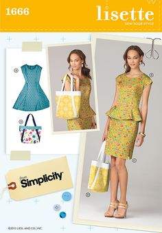 Simplicity 1666 Misses Dress, and Bag  Misses' & Miss Petite fit & flare dress & peplum top have princess seams, back zipper & cap sleeves. Pencil skirt has side zipper & walking slit. Carryall bag completes the look.