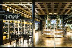 SPAZIO FORME – Parmigiano Reggiano Experience Store by LAI STUDIO, Maurizio Lai | Restaurant.. Parmigiano Reggiano, Lobby Reception, Retail Experience, Brickwork, Reggio, Entrance, Innovation, Restaurant