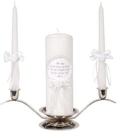 Darice Victoria Lynn Unity Candle Set with Verse - Pearl Finish