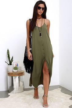 Friday I'm in Love Olive Green Maxi Dress at Lulus.com!