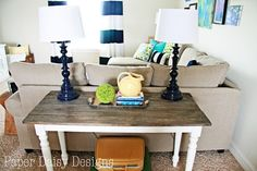 Build a Rustic Sofa Table..and i love the idea of spray painting lamps a nice navy blue.