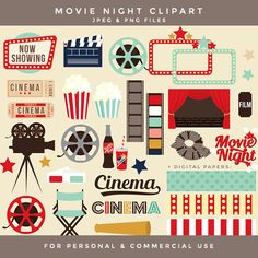 Movie night clipart - movie clip art retro clipart vintage theatre theater popcorn cinema film reel digital papers soda frames film TV WinchesterLambourne 5.85 USD