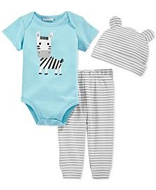 First Impressions Baby Boys' 3-Piece Zebra Bodysuit, Pants & Hat Set, Only at Macy's