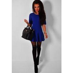 Bind Blue Drop Waist Frill Mini Dress, Pretty :)