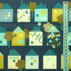 Domky / domečky se stromy - tmavě modrá látka - dětská metráž - bavlna
