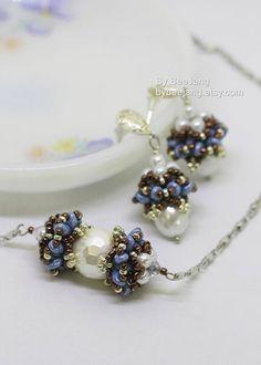 PDF Tutorial Alina Beaded Cap Earrings Pendant Necklace