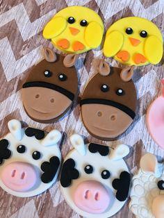 12 toppers cupcake animales corral de fondant