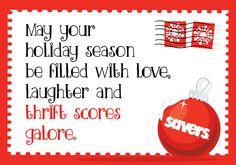 season's greetings. holiday merriment. savers.
