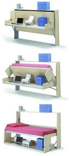 First space saving folding bed. Apartment Therapy First space saving folding bed. Space Saving Furniture, Cool Furniture, Office Furniture, Murphy Furniture, Ikea Furniture, Furniture Ideas, Apartment Furniture, Furniture Design, Corner Furniture