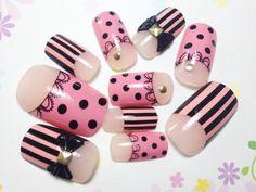 New fake nails White Pink and Black Nails with Ribbons | MiCHi MALL